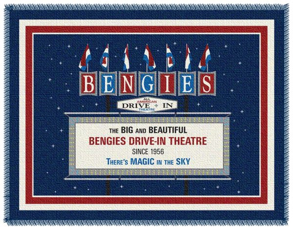 Woven throw blanket featuring the marquee of bengies drive-in theatre