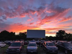 Pink and purple sunset at bengies drive-in theatre
