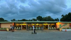 front of snack bar at dusk