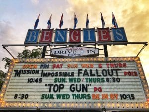 Bengies drive-in theatre marquee at sunset