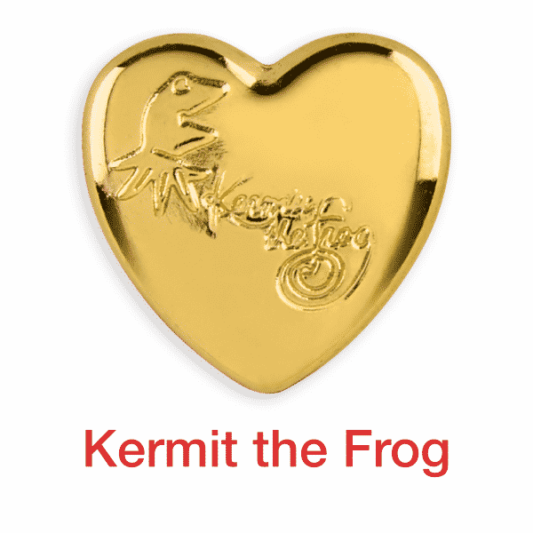 Kermit the frog gold heart pin for sale
