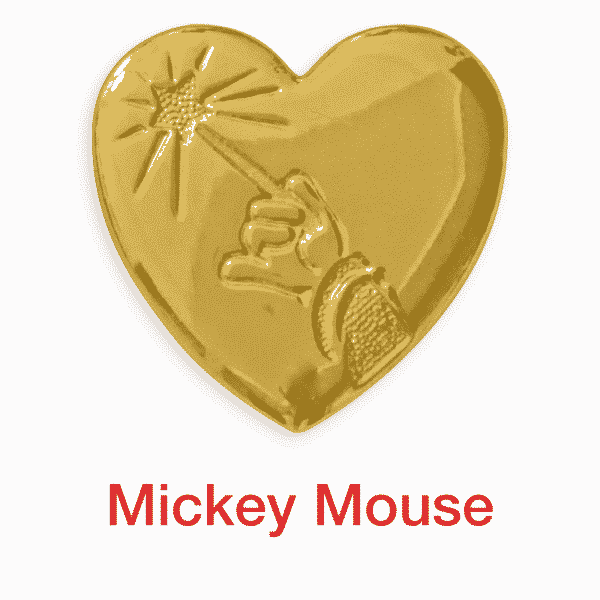mickey mouse gold heart pin for sale