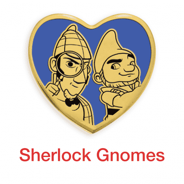 sherlock gnomes gold heart pin for sale