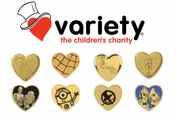 variety the childrens charity gold heart pins for sale