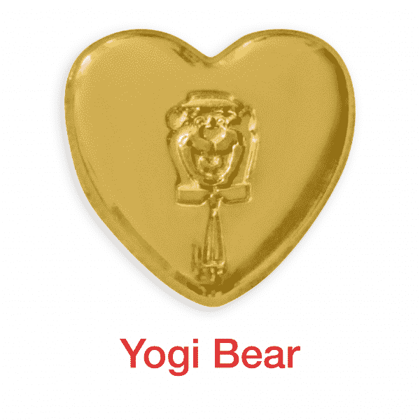 yogi bear gold heart pin for sale